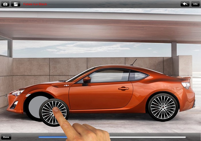 Car configurator mobile app for alloy wheels